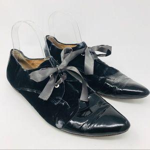 Anthropologie All Black Grey Crushed Velvet Shoes